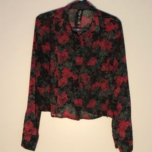 Floral Pretty Little Liars button up crop top